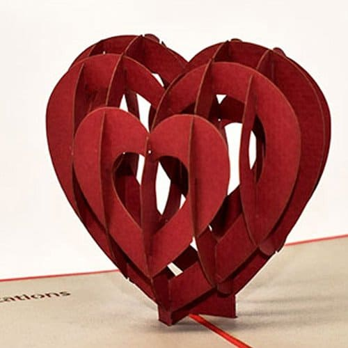 Closeup of heart standup card.